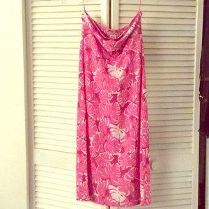Michael Kors strapless floral pink dress